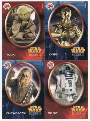 Star Wars Revenge Of The Sith Mexican Burger King Cards